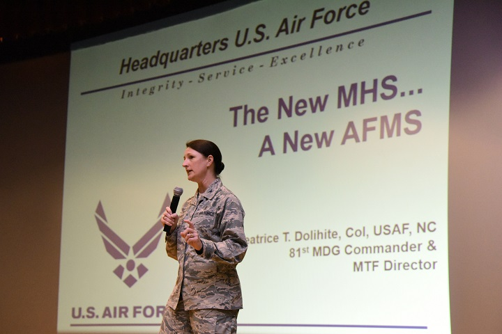 Air Force Col. Beatrice Dolihite, 81st Medical Group commander, briefs Keesler Medics on the Keesler Medical Center's transition to the Defense Health Agency during a commander's call at the Welch Theater on Keesler Air Force Base, Mississippi, Oct. 1, 2018. (U.S. Air Force photo by Kemberly Groue)