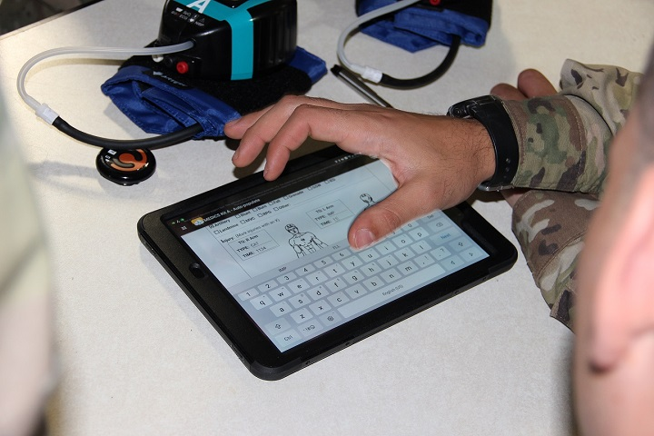 Soldiers test MEDHUB during an exercise at Camp Atterbury, Indianapolis. (U.S. Army photo by Greg Pugh)