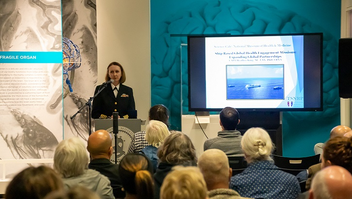 "Navy Capt. Heather King, executive director of the TriService Nursing Research Program at the Uniformed Services University, details the process of ship-based global health engagement missions during the October 22, 2019, Medical Museum Science Café titled ""Ship-Based Global Health Engagement Missions: Expanding Global Partnerships"" at the National Museum of Health and Medicine in Silver Spring, Maryland. (NMHM photo)"