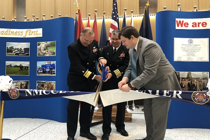 (Left to right) Navy Rear Admiral Terry Moulton, Deputy Surgeon General, Navy Capt. Jeffrey Timby, NMCCL Commanding Officer, and Adam Caldwell, Regional Representative for US Senator Thom Tillis, cut the ceremonial ribbon for the NMCCL Trauma Center. (Courtesy photo)
