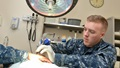 "Navy Hospital Corpsman 3rd Class Joren Seibert uses cryotherapy for wart removal at Naval Branch Health Clinic Jacksonville's primary care. Seibert, a native of Galesburg, Illinois, says, ""I started in the Navy as a deck seaman and can now proudly say I'm a hospital corpsman. The people we care for deserve nothing but the best. Being able to directly help those folks every day is what keeps me coming back and what motivates me to continue being a better corpsman."" (U.S. Navy photo by Jacob Sippel)"