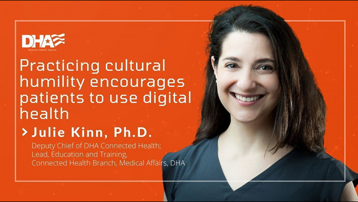 "Picture of a women smiling with the words ""Practicing cultural humanity encourages patients to use digital health"""