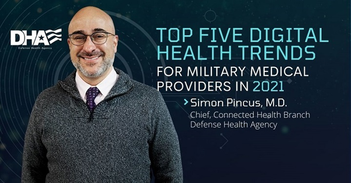 "Image of Dr. Pincus with text ""Top Five Digital Health Trends for Military Medical Providers in 2021"""