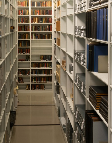 Shelves in the National Museum of Health and Medicine's Otis Historical Archives contain extensive records, including the Walter Reed Army Medical Center Archives, the Walter Reed patient newspaper The Come-Back, 64 bound volumes of the Walter Reed newspaper Service Stripe, and 87 bound volumes of Stripe. (National Museum of Health and Medicine photo by Matthew Breitbart)