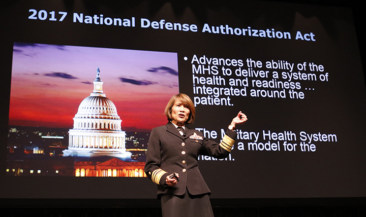 DoD leaders have announced the Interim Final Rule that charts the way forward for transforming TRICARE, the military's health care system. Pictured here, Navy Vice Adm. Raquel Bono, director of the Defense Health Agency, speaks about provisions in the 2017 National Defense Authorization Act at the Healthcare Information and Management Systems Society 2017 conference in Orlando, Florida. (DoD photo)