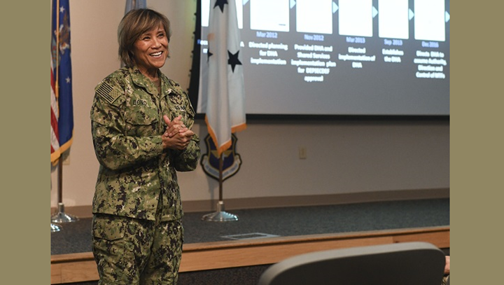Navy Vice Adm. Raquel Bono, Defense Health Agency director, speaks at a town hall June 5, 2019 at Tyndall Air Force Base, Florida. During her visit, she applauded the medical Airmen who have endured the challenges due to Hurricane Michael. (U.S. Air Force photo by Airman 1st Class Alexandra Sing