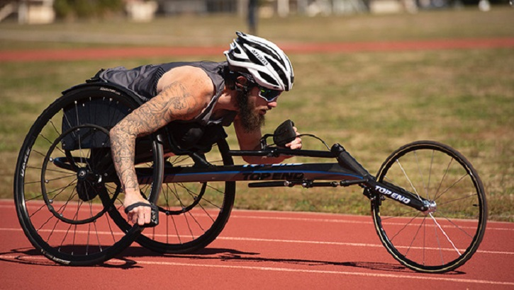 Man in wheelchair race