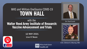 Image describing today's Town Hall with Dr. Paul Scott and COL Clinton K. Murray, MD.  They are with the Walter Reed Army Institute of Research, and will discuss COVID-19 Vaccine Advancement and Trials.