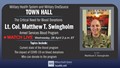 Fourth MHS Town Hall announcement with image of Lt. Col. Matthew T. Swingholm, discussing the Critical Need for Blood Donations, Wednesday, April 28 at 2 p.m. ET