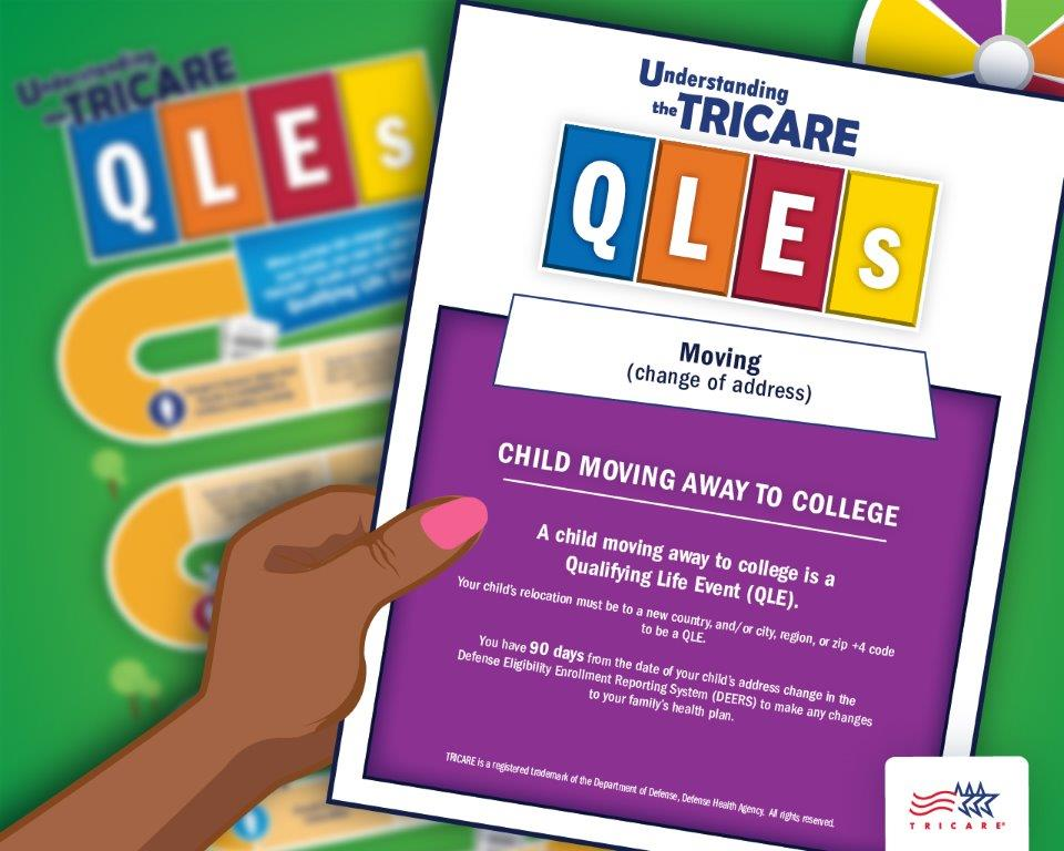 Image of a hand holding a QLE card discussing the qualifying life event children going to college with a game board in the background