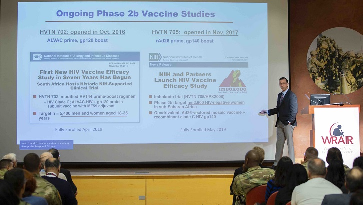 Dr. John Mascola, director of the National Institutes of Health Vaccine Research Center, discusses HIV vaccine progress at the Walter Reed Army Institute of Research, Nov. 26, during a World AIDS Day commemoration.  (U.S. Army photo)