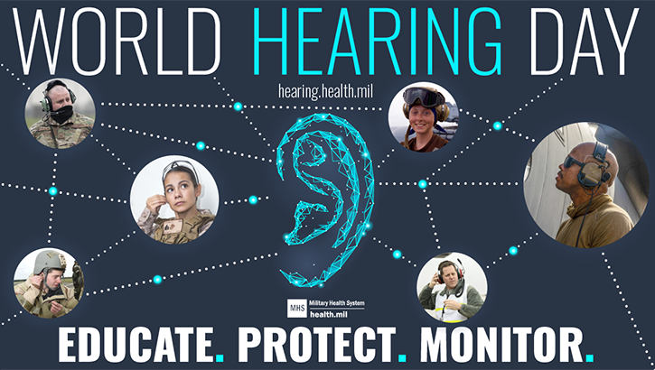 "An infographic with the words ""World Hearing Day"" at the top, images of people using their hears to listen, and ""educate, protect, monitor"" at the bottom"