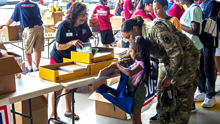 U.S. Army Sgt. 1st Class Ayla Soltren, a 5th Battalion Army Reserve Career Division counselor, collects school supplies with her daughter, Lana, at a Back to School Info Fair hosted by the 6th Force Support Squadron at MacDill Air Force Base, Fla., Aug. 3, 2019. Another tradition of the season is making sure vaccinations are up to date to keep students healthy and protected. (U.S. Air Force photo by Airman 1st Class Ryan C. Grossklag)