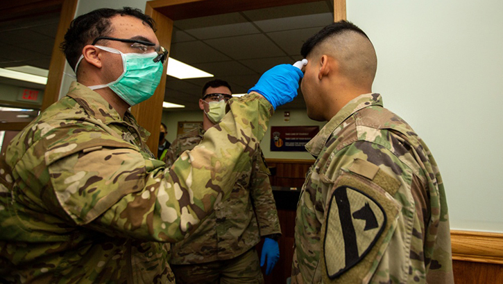 Soldiers stationed on U.S. Army Garrison Casey conduct pre-screening processes on individuals awaiting entry to the base, USAG-Casey, Dongducheon, Republic of Korea, Feb. 26, 2020. Additional screening measures of a verbal questionnaire and temperature check are in response to the heighted awareness of Coronavirus (COVID-19) following a surge in cases throughout the Republic of Korea and are meant to help control the spread of COVID-19 and to protect the force. (U.S. Army photo by Sgt. Amber I. Smith)