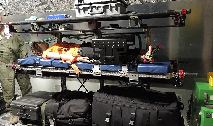 Cornerstone Research Group's aeromedical evacuation stretcher is shown during a compatibility test on a KC-135 aircraft. (Courtesy photo)