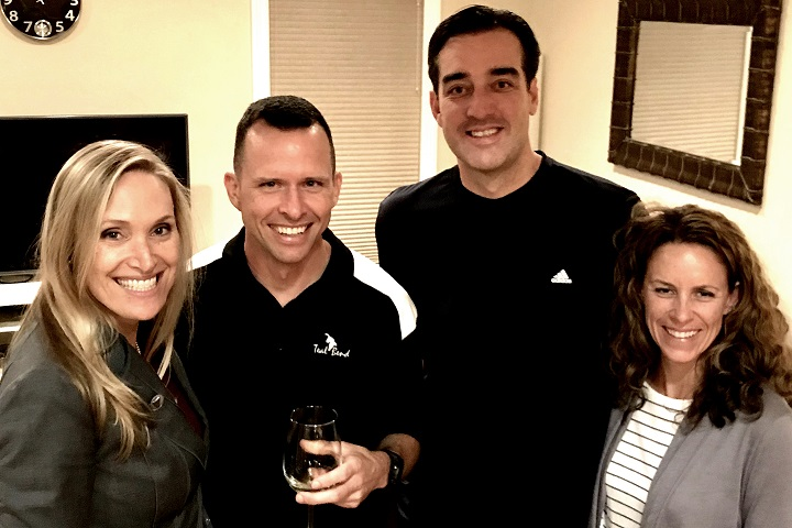 Air Force Col. Dave Ashley (second from left) and Army veteran Chris Connelly, seen here with their wives, are both happy and healthy after Ashley donated a kidney to Connelly. (Courtesy photo)