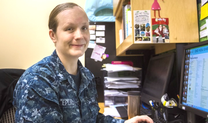 Hospital Corpsman 3rd Class Talena Epling proudly serves in her role as a Fort Belvoir Community Hospital board-certified lactation consultant, a rarity among enlisted service members. (Department of Defense photos by Reese Brown)
