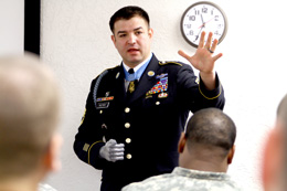 Medal of Honor recipient Army Sgt. 1st Class Leroy A. Petry talks to soldiers at Fort Sill, Okla, Jan. 12, 2012. Petry lost his right hand throwing a live grenade away from himself and two other Army Rangers during combat in Afghanistan's Paktia province, May 26, 2008. DoD photo by Marie Berberea, Fort Sill