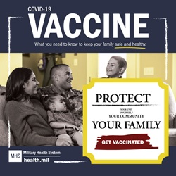 "A smiling family sits together on a couch. Text over the image reads ""Protect yourself, your unit, your community, your family. Get vaccinated."""