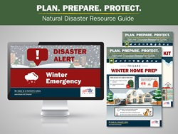 Plan. Prepare. Protect.  This image shows a group of images that provide information on what to do in the case of a winter-related emergency.
