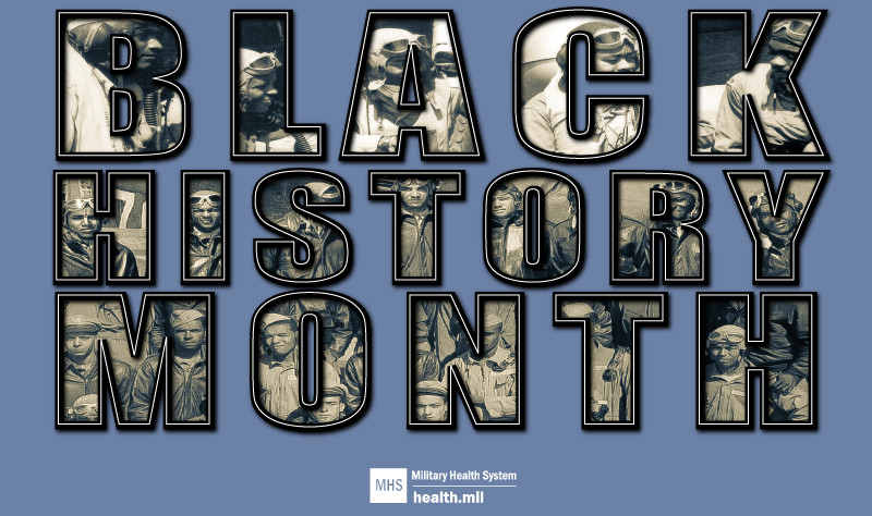 "Social Media Graphic Black History Month with images of black service members within the letters of ""Black History Month."""