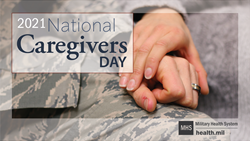 Social Media Graphic on National Caregivers Day, with two service members holding hands