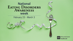 Social Media Graphic on National Eating Disorders Awareness Week with a fork and tape measure on lime green background.  National Eating Disorders Awareness Week February 23- March 3