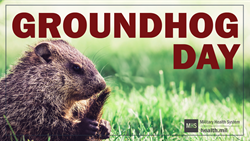 Social Media Graphic for Groundhog Day showing a ground hog peeking out of its burrow.  Happy Groundhog Day!