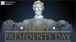 Social Media Graphic on Presidents Day showing the Lincoln Memorial.