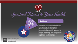 Social media graphic, Spiritual Fitness and Your Health, has heart logo, Spiritual Fitness Shuttlecock image, Total Force Fitness Logo and MHS logo.