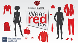 Social Media Graphic on Wear Red Day with mannequins with red clothing to dress them.