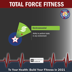 MHS January Monthly Theme Twitter graphic promoting the Environmental Fitness domain of Total Force Fitness. Green shuttlecock graphic