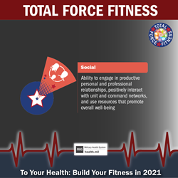 MHS January Monthly Theme Twitter graphic promoting the Social Fitness domain of Total Force Fitness. Red shuttlecock graphic