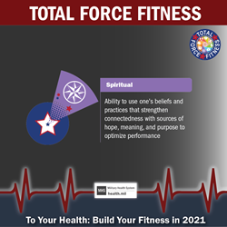 MHS January Monthly Theme Twitter graphic promoting the Spiritual & Ideological Fitness domain of Total Force Fitness. Purple shuttlecock graphic