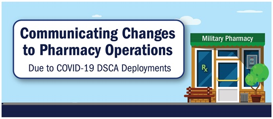 Text only image that reads 'Communicating changes to pharmacy operations due to COVID-19 DSCA Deployments'