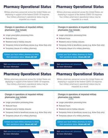 Handout indicating that your military pharmacy and text explaining that your military pharmacy operations may be impacted due to personnel deployments for the federal COVID-19 response, including increased processing times, reduced hours, weekend closures, temporary access limits, and temporary closures