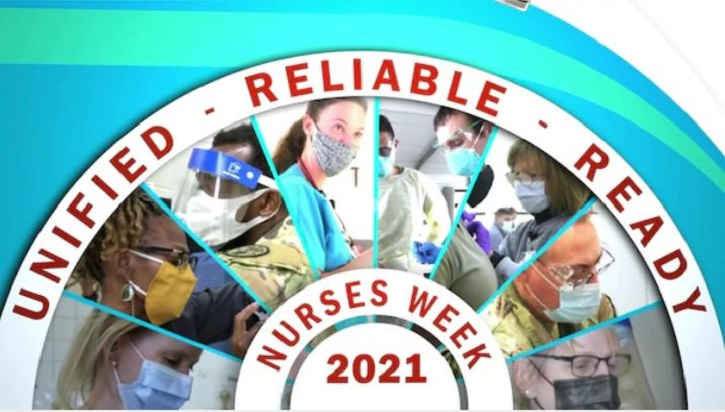 Image of nurses in a semi-circle, with the words Unified, Reliable, Ready, and Nurses Week 2021