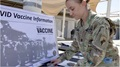 Image of soldier looking through COVID vaccine information laid out on a table