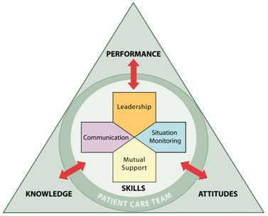 Triangular image with a circle inside showing the framework of TeamSTEPPS including Leadership, Situation Monitoring, Mutual Support, and Communication