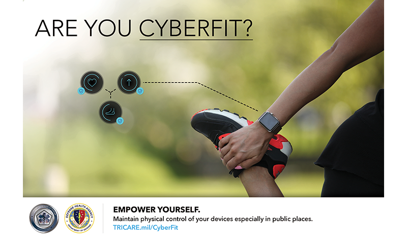 Are you Cyberfit?  Woman stretching, wearing a fitness device.