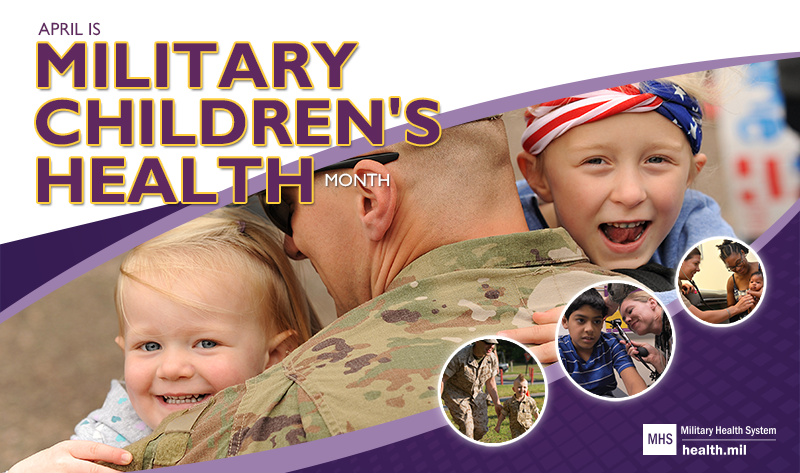 Spotlight Image for the month of the military child. Image of service member with children.