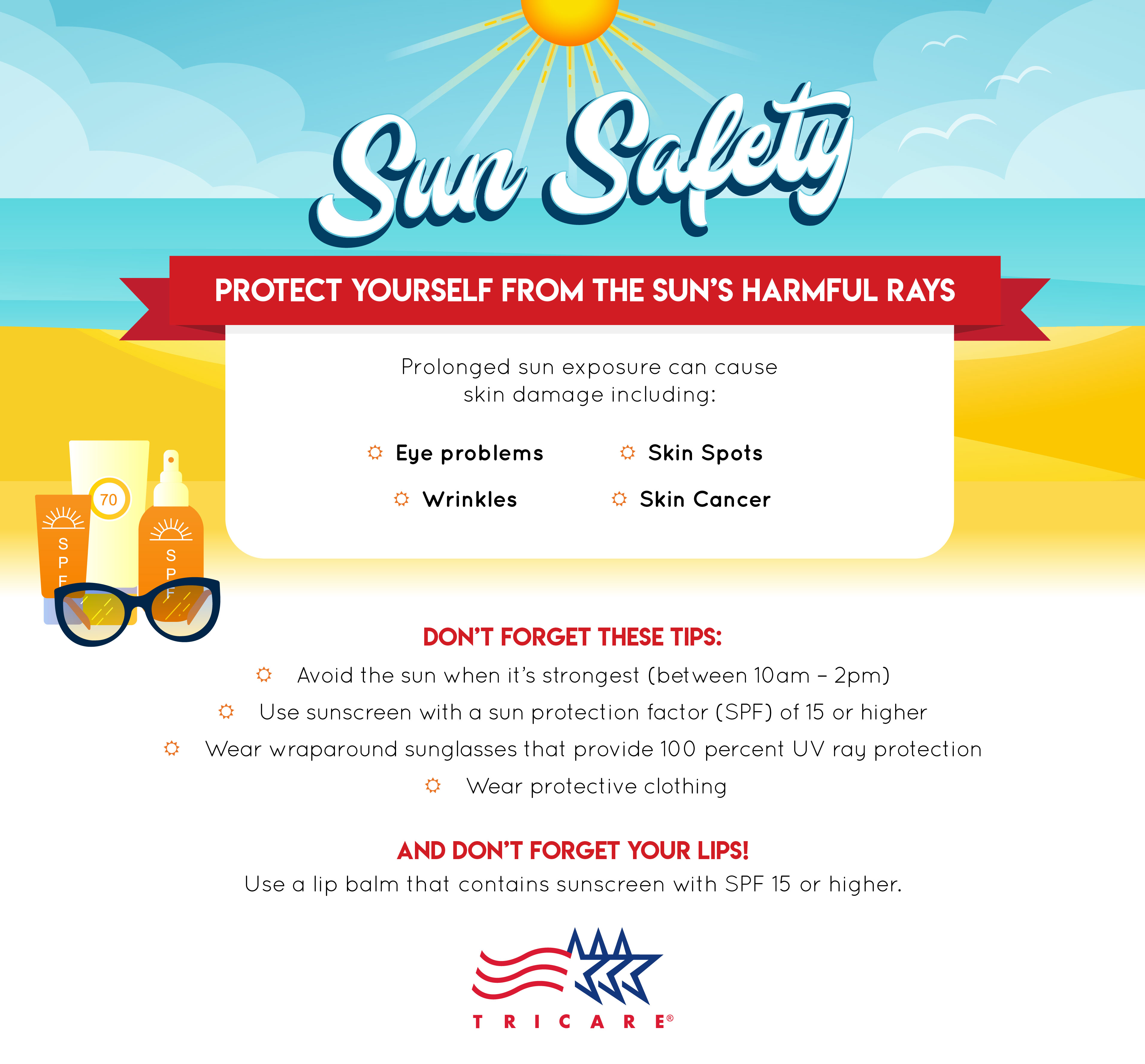 This infographic provides information on ways to protect yourself from the sun's harmful rays.