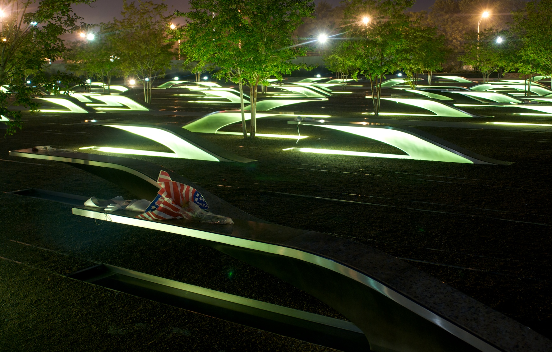 Photo of the National 9/11 Pentagon Memorial. The Pentagon Memorial was created to remember and honor those family members and friends who are no longer with us because of the events of September 11, 2001 at the Pentagon. (Courtesy photo by Kevin Dwyer)