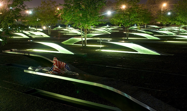 Photo of the National 9/11 Pentagon Memorial. The Pentagon Memorial was created to remember and honor those family members and friends who are no longer with us because of the events of September 11, 2001 at the Pentagon.