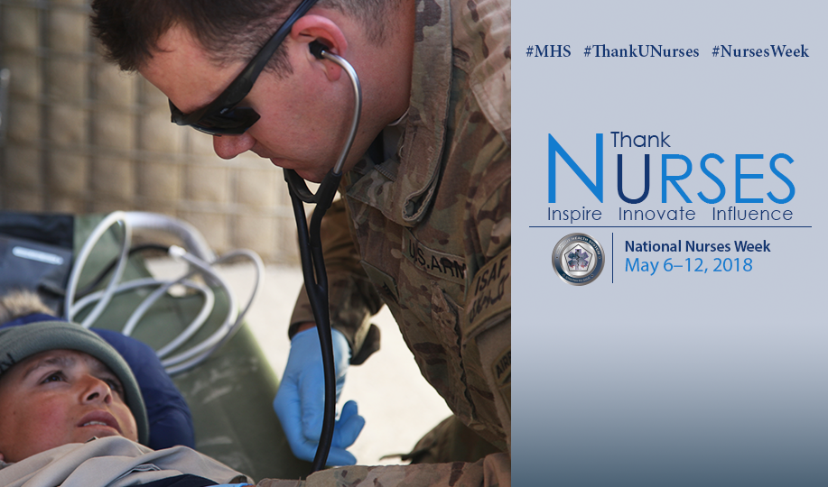 A photo celebrating and thanking military nurses and nurse techs for the Military Health System's 2018 National Nurses Week.