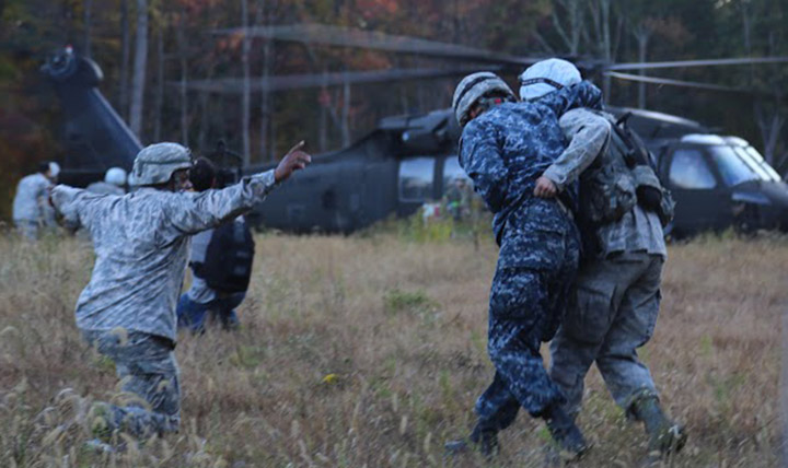 Fourth-year medical students from the Uniformed Services University of the Health Sciences practiced their skills during Operation Bushmaster, a field exercise that took place Oct. 10-22 at Fort Indiantown Gap, Pa. (DoD photo by Sarah Marshall)
