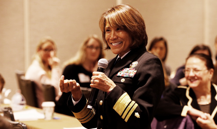Navy Vice Adm. Raquel Bono, director of the Defense Health Agency, talks to the Association of Women Surgeons meeting in Washington, D.C.