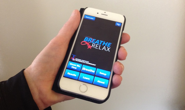 Breathe2Relax, a mobile app, teaches how to reduce tension by breathing from the diaphragm, a deeper type of breathing that helps to induce a calming response in widely different circumstances.