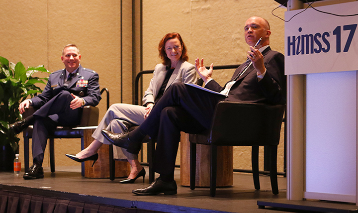 Dr. Paul Cordts (right), the MHS's electronic health record functional champion spoke at the Healthcare Information and Management Systems Society (HIMSS) 2017 conference in Orlando, Florida, Feb. 21, 2017. Cordts was joined on stage by Stacy Cummings (center), program executive officer, Program Executive Office, Defense Healthcare Management Systems and Air Force Col. Richard Terry (left), acting MHS chief information officer. The conference brings together approximately 40,000 health care IT professionals, clinicians, executives and vendors from around the world. (MHS photo)