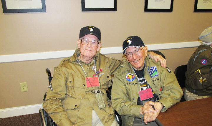 """Edwin """"Doc"""" Pepping, left, and Albert """"Al"""" Mampre, right, both served as combat medics attached to Easy Company during World War II. (Photo courtesy of Matthew Pepping)"""